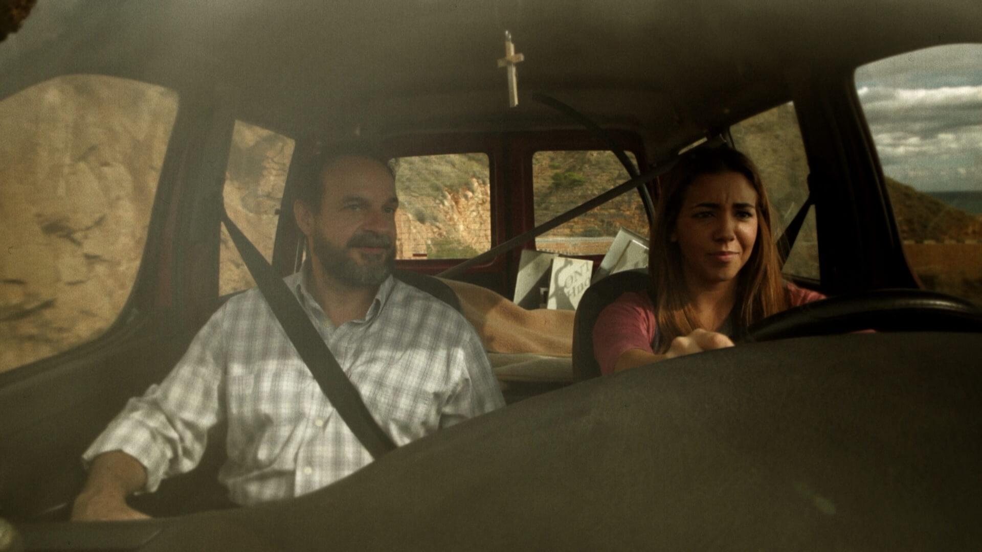 La Cruz Vero and her father driving